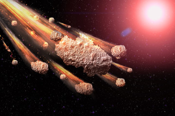 Sci-fi fantastic background - burning and exploding stars, hell, asteroid impact, glowing horizon. Deep space. Attack of the asteroid. Scientific llustration. 3D llustration.