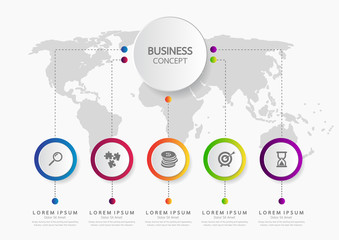 Vector infographic template business concept with options. Label circles for content, flowchart, diagram, steps, infographics, chart, workflow layout illustration,
