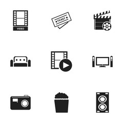 Set Of 9 Editable Filming Icons. Includes Symbols Such As Megaphone, Ticket, Movie Action And More. Can Be Used For Web, Mobile, UI And Infographic Design.