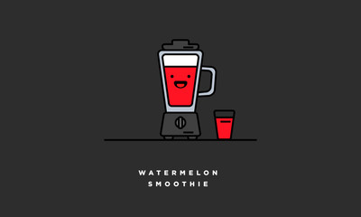 Watermelon Smoothie (Line Art in Flat Style Vector Illustration Design)