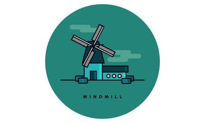 Windmill (Line Art Vector Illustration in Flat Style Design)