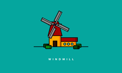 Windmill (Line Art Vector Illustration in Flat Style Design)