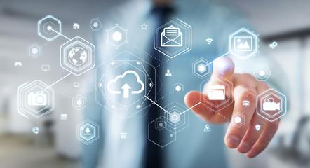 Businessman using digital cloud interface 3D rendering