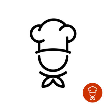 Chef in a cooking hat outline logo
