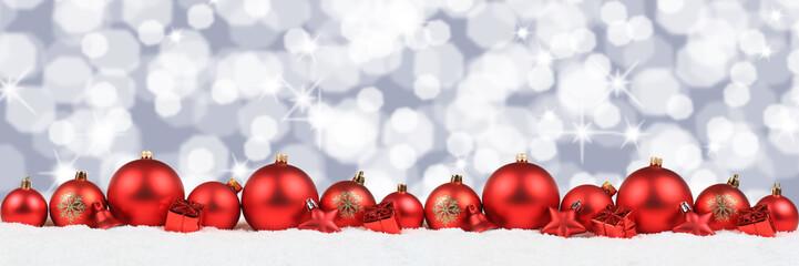 Weihnachten rot Weihnachtskugeln Banner Dekoration Hintergrund Sterne Textfreiraum
