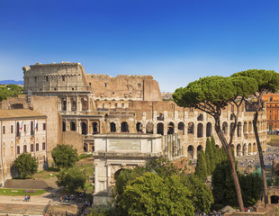 The view of the Roman forum, the arch of Titus, Colosseum, Rome, Italy