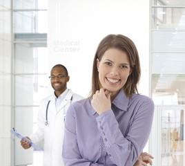 Happy woman at medical center