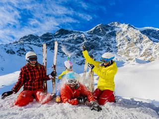 Snow in winter season, mountains. South Tirol, Solda in Italy.