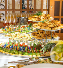 Delicacies and snacks at a buffet or Banquet. Catering. Selective focus