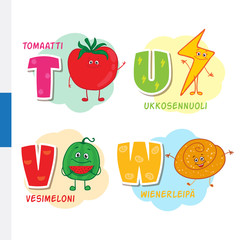 Finnish alphabet. Tomato, Lightning, Watermelon, Viennese. Vector letters and characters.