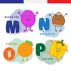 French alphabet. Monster, hazelnuts, orange, pepper. Vector letters and characters.