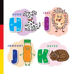 Deutsch alphabet. Dog, hedgehog, yogurt, cat. Vector letters and characters