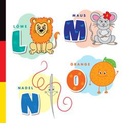 Deutsch alphabet. Lion, mouse, stylus, orange. Vector letters and characters
