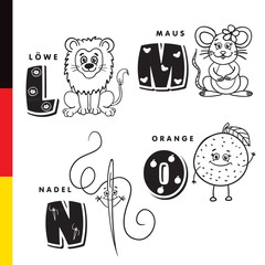 Deutsch alphabet. Lion, mouse, stylus, orange. Vector letters and characters