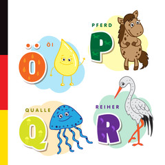 Deutsch alphabet. Olive oil, horse, jellyfish, heron. Vector letters and characters