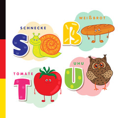 Deutsch alphabet. Snail, white bread, tomato, owl. Vector letters and characters