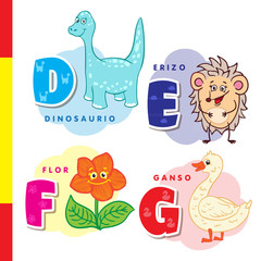 Spanish alphabet. Dinosaur, hedgehog, flower, goose. Vector letters and characters.