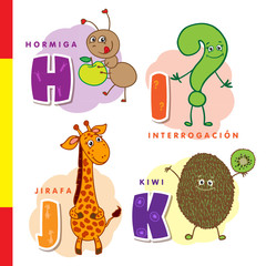 Spanish alphabet. Ant, question, giraffe, kiwi. Vector letters and characters.