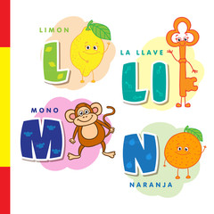 Spanish alphabet. Lemon, key, monkey, orange. Vector letters and characters.