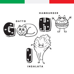 Italian alphabet. Cat, hamburger, lettuce. Vector letters and characters.