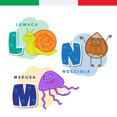Italian alphabet. Snail, hazelnut, jellyfish. Vector letters and characters.