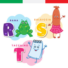 Italian alphabet. Frog, sausage, notepad. Vector letters and characters.