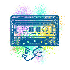Audio cassette. Retro music concept. Old school style. Audio cassette and color splashes t-shirt design. Poster 80s and 90s