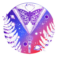 Universe and butterfly tattoo art. Symbol of esoterics, galaxy, universe, meditation, mysticism, astrology, dream. Surreal Universe, planet and star t-shirt design