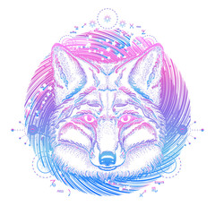 Magic fox tattoo. Symbol of a travel, freedom, tourism. Ethnic style t-shirt design. Fox against the background of Universe tattoo art