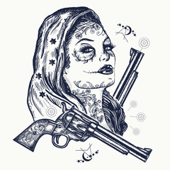 Wild west woman tattoo. Santa muerte girl. Sugar Skull. Santa Muerte mexican woman, old revolvers, crime scene . Mexican criminal  tattoo art and t-shirt design