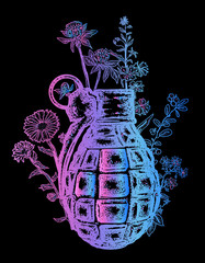 Grenade t-shirt design. On the grenade flowers grow. Symbol of weapon, war and peace, good and evil. Rusty grenade tattoo