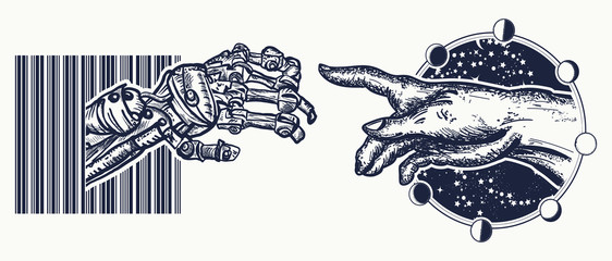 Human and robot's hands tattoo. Symbol of spirituality, religion, connection and interaction, people and artificial intelligence. Robot hands touching with human fingers tattoo and t-shirt design