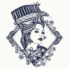 Ancient Egypt tattoo. Queen of Egypt Nefertiti, art nouveau woman. Egyptian princess Cvleopatra. Ancient Egypt woman t-shirt design