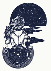 Magic woman tattoo and t-shirt design. Woman in space tattoo art. Surreal girl sinks in universe. Symbol of magic, poetry, esoterics, astrology. Girl and space, goodnes woman and galaxy t-shirt design