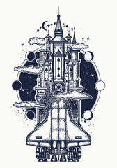 Space ship tattoo and t-shirt design. Symbol creative ideas, sciences, imaginations, dreams, fairy tales, modern technologies, future, motivation. Spaceship turns into the medieval castle