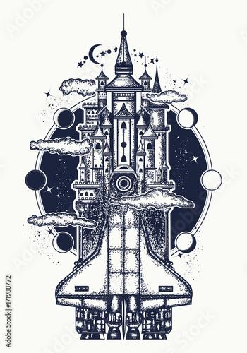 Space Ship Tattoo And T Shirt Design Symbol Creative Ideas