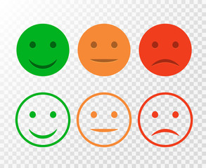 Smiley icon set. Emoticons positive, neutral and negative. Vector isolated red and green mood. Rating smile for customer opinion isolated