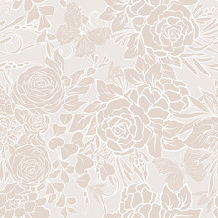 Floral seamless pattern with butterflies and bees  in realistic botanical style.  Stock vector illustration. In vanilla pastel colors