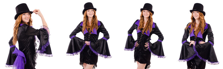 Wall Mural - Pretty girl in purple carnival clothing and hat isolated on whit