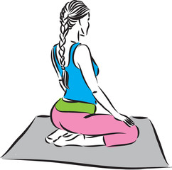 fitness woman meditation vector illustration