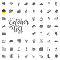 Oktoberfest icon set with sausage, pretzel, beer, hat, and accordion. Vector illustration in cartoon style isolated on white background