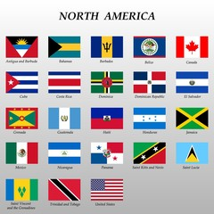 set of flags north america