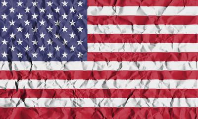 USA Crisis Concept: Crumpled Paper US Flag