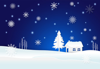 Photo sur Plexiglas Cottage with snow and snowflake in winter on blue background
