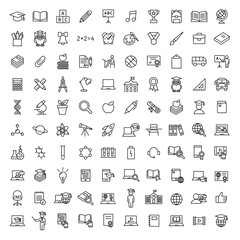 school, education and knowledge 100 bolt line black icons set