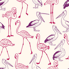 pattern of the cartoon pelicans and flamingos