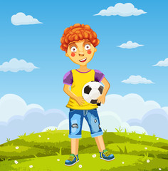 Vector illustration art of little boy in shirt and short playing football on a meadow . Pretty football player.