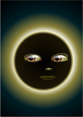 A sun in eclipse mode with face. Vector illustration