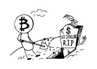 Doodle style Bitcoin bury the US dollar, funny cartoon. Vector format.
