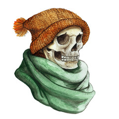 watercolor drawing in the theme of Halloween dull human skull in orange knitted warm woolen hat and green scarf,background watercolor stains of gray color, frame for decoration